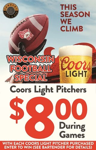 Badger Football Coors Light Specials